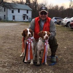 Rich Jarosinski (Owner / Handler) with Ajax Jaros Josey Wales (Josey) MHA / UT-II and Ajax Hurricanes Bird Finding Machine (Radar) UPT-II. Radar completed the first leg of 4 required to get his AKC Senior Hunter title.